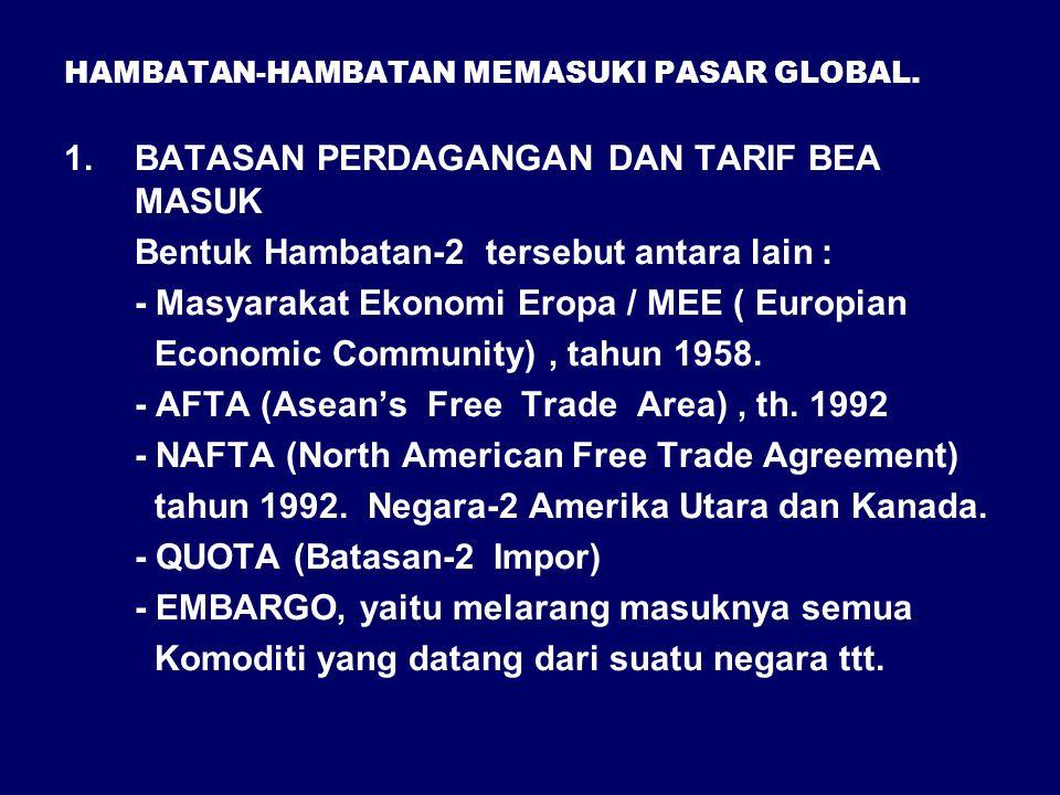 HAMBATAN-HAMBATAN MEMASUKI PASAR GLOBAL. 1.BATASAN PERDAGANGAN DAN TARIF BEA MASUK Bentuk Hambatan-2 tersebut antara lain : - Masyarakat Ekonomi Eropa