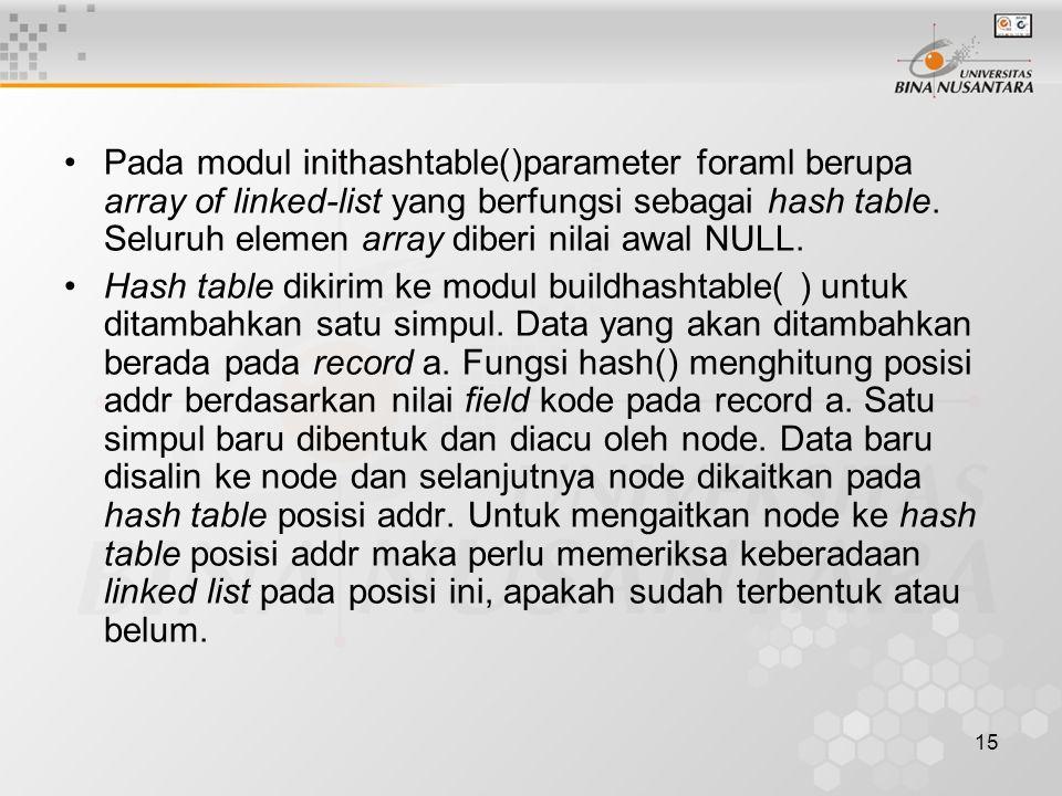 15 Pada modul inithashtable()parameter foraml berupa array of linked-list yang berfungsi sebagai hash table.
