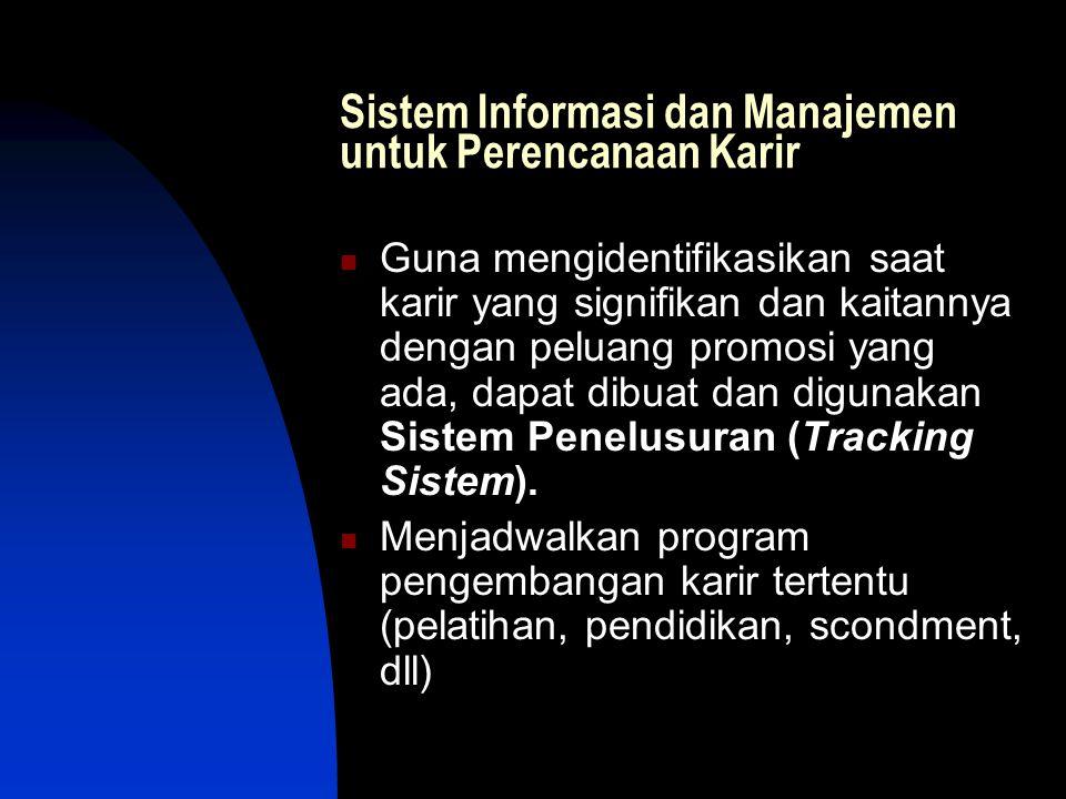 Sistem Informasi dan Manajemen untuk Perencanaan Karir Guna mengidentifikasikan saat karir yang signifikan dan kaitannya dengan peluang promosi yang ada, dapat dibuat dan digunakan Sistem Penelusuran (Tracking Sistem).