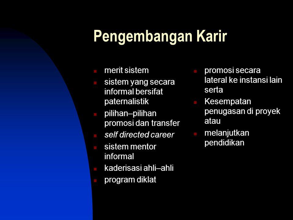 Pengembangan Karir merit sistem sistem yang secara informal bersifat paternalistik pilihan–pilihan promosi dan transfer self directed career sistem me
