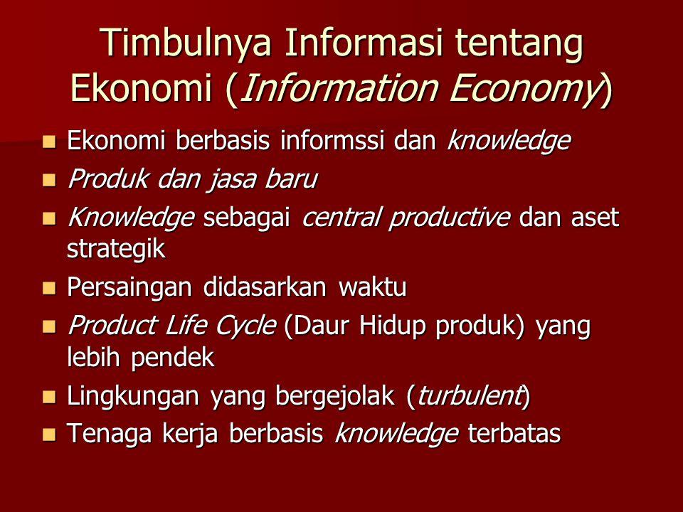 Timbulnya Informasi tentang Ekonomi (Information Economy) Ekonomi berbasis informssi dan knowledge Ekonomi berbasis informssi dan knowledge Produk dan