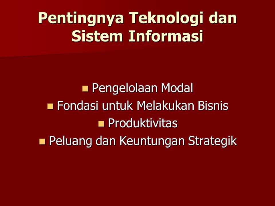 Pentingnya Teknologi dan Sistem Informasi Pengelolaan Modal Pengelolaan Modal Fondasi untuk Melakukan Bisnis Fondasi untuk Melakukan Bisnis Produktivi