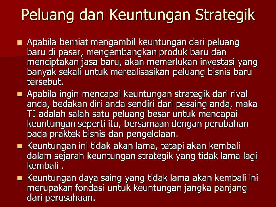 Peluang dan Keuntungan Strategik Apabila berniat mengambil keuntungan dari peluang baru di pasar, mengembangkan produk baru dan menciptakan jasa baru,