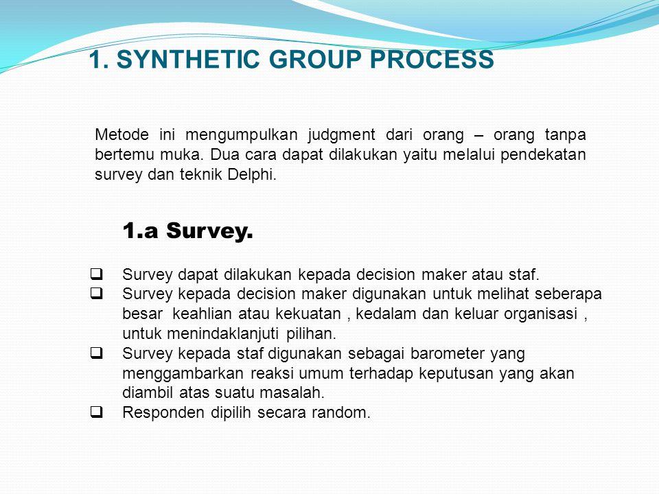 1. SYNTHETIC GROUP PROCESS Metode ini mengumpulkan judgment dari orang – orang tanpa bertemu muka. Dua cara dapat dilakukan yaitu melalui pendekatan s