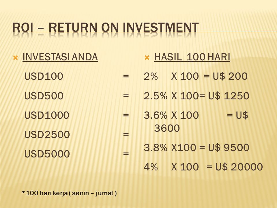  INVESTASI ANDA USD100= USD500= USD1000= USD2500= USD5000=  HASIL 100 HARI 2% X 100 = U$ 200 2.5% X 100= U$ 1250 3.6%X 100 = U$ 3600 3.8% X100= U$ 9500 4%X 100 = U$ 20000 *100 hari kerja ( senin – jumat )