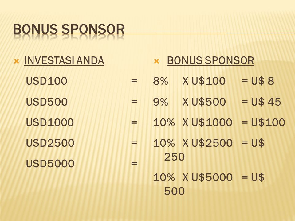  INVESTASI ANDA USD100= USD500= USD1000= USD2500= USD5000=  BONUS SPONSOR 8% X U$100 = U$ 8 9%X U$500 = U$ 45 10%X U$1000 = U$100 10%X U$2500= U$ 250 10%X U$5000= U$ 500