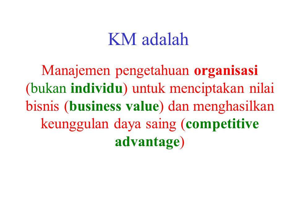 KM adalah Manajemen pengetahuan organisasi (bukan individu) untuk menciptakan nilai bisnis (business value) dan menghasilkan keunggulan daya saing (co