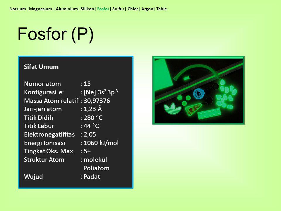 Sifat Umum Nomor atom : 15 Konfigurasi e - : [Ne] 3s 2 3p 3 Massa Atom relatif: 30,97376 Jari-jari atom: 1,23 Å Titik Didih: 280  C Titik Lebur: 44 