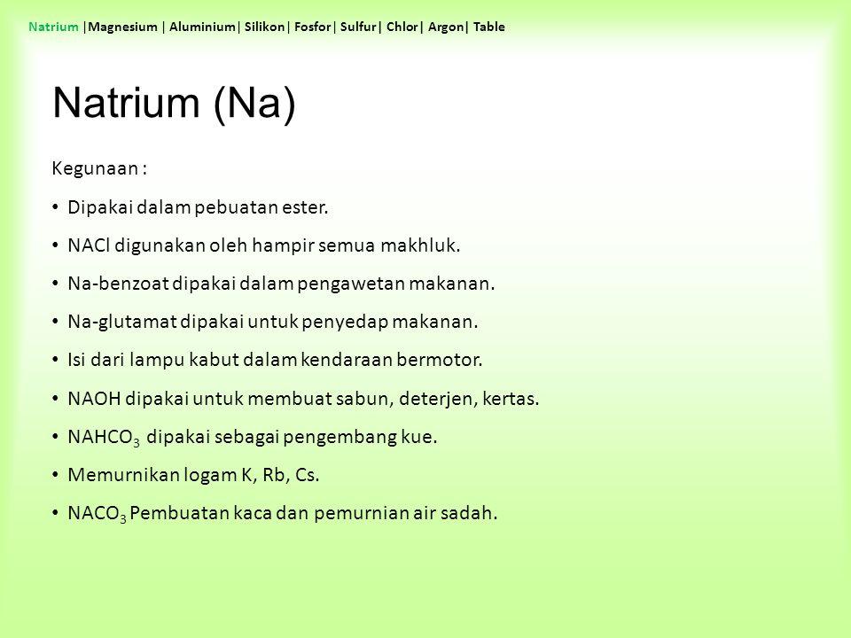 Kegunaan : Dipakai dalam pebuatan ester. NACl digunakan oleh hampir semua makhluk. Na-benzoat dipakai dalam pengawetan makanan. Na-glutamat dipakai un