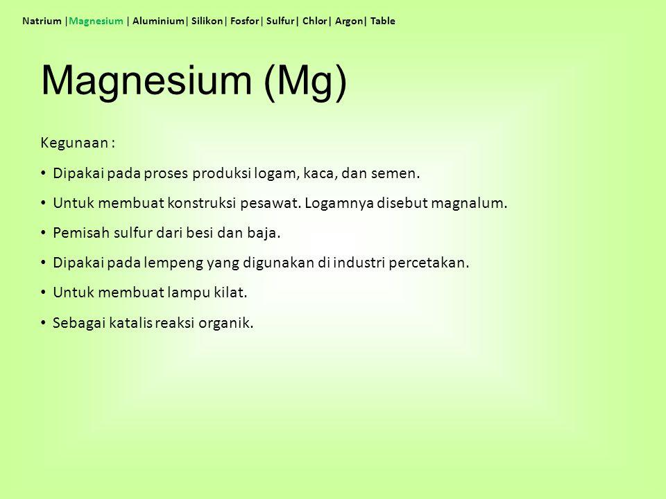 Kegunaan : Dipakai pada proses produksi logam, kaca, dan semen. Untuk membuat konstruksi pesawat. Logamnya disebut magnalum. Pemisah sulfur dari besi