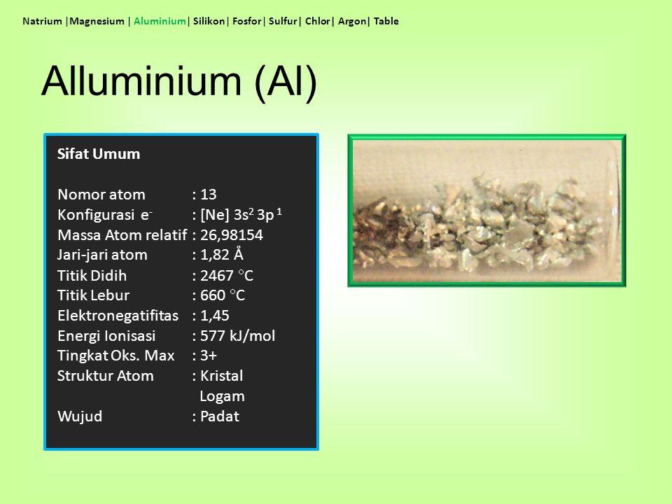 Sifat Umum Nomor atom : 13 Konfigurasi e - : [Ne] 3s 2 3p 1 Massa Atom relatif: 26,98154 Jari-jari atom: 1,82 Å Titik Didih: 2467  C Titik Lebur: 660