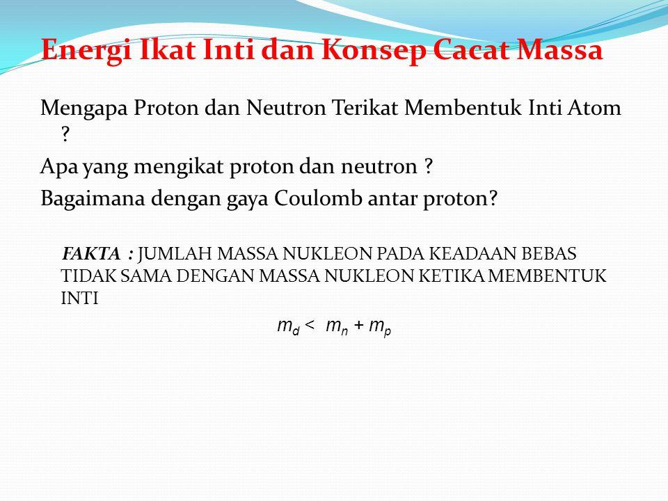 Energi Ikat Inti dan Konsep Cacat Massa Mengapa Proton dan Neutron Terikat Membentuk Inti Atom ? Apa yang mengikat proton dan neutron ? Bagaimana deng