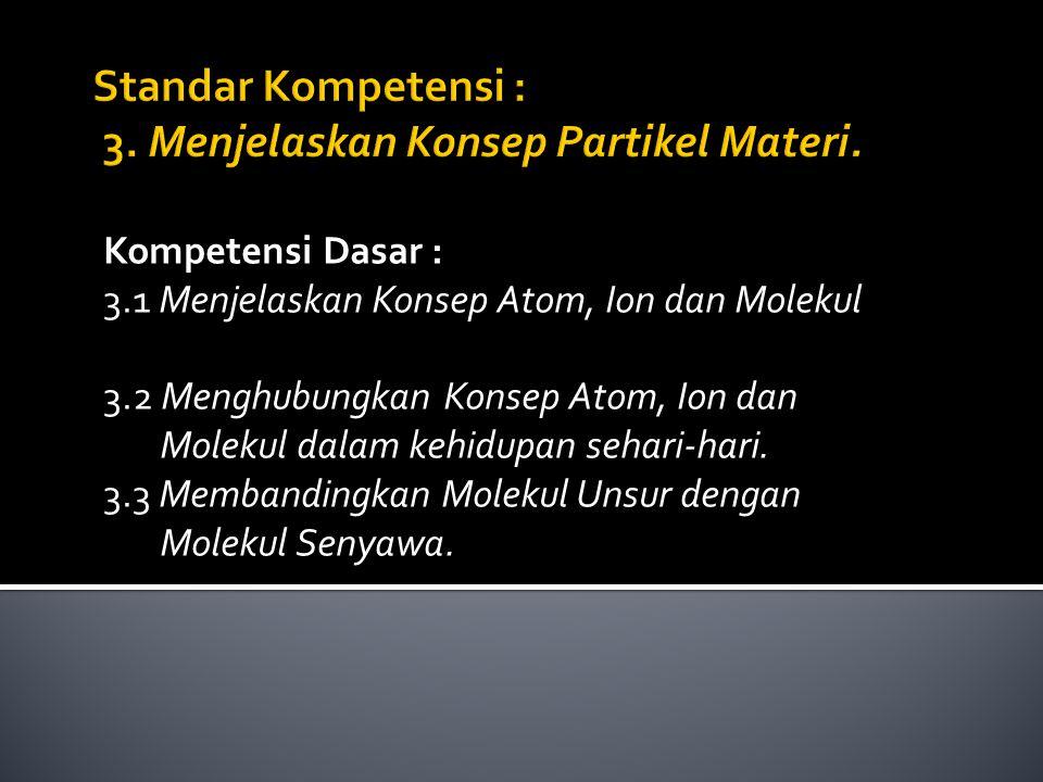 Kompetensi Dasar : 3.1 Menjelaskan Konsep Atom, Ion dan Molekul 3.2 Menghubungkan Konsep Atom, Ion dan Molekul dalam kehidupan sehari-hari. 3.3 Memban