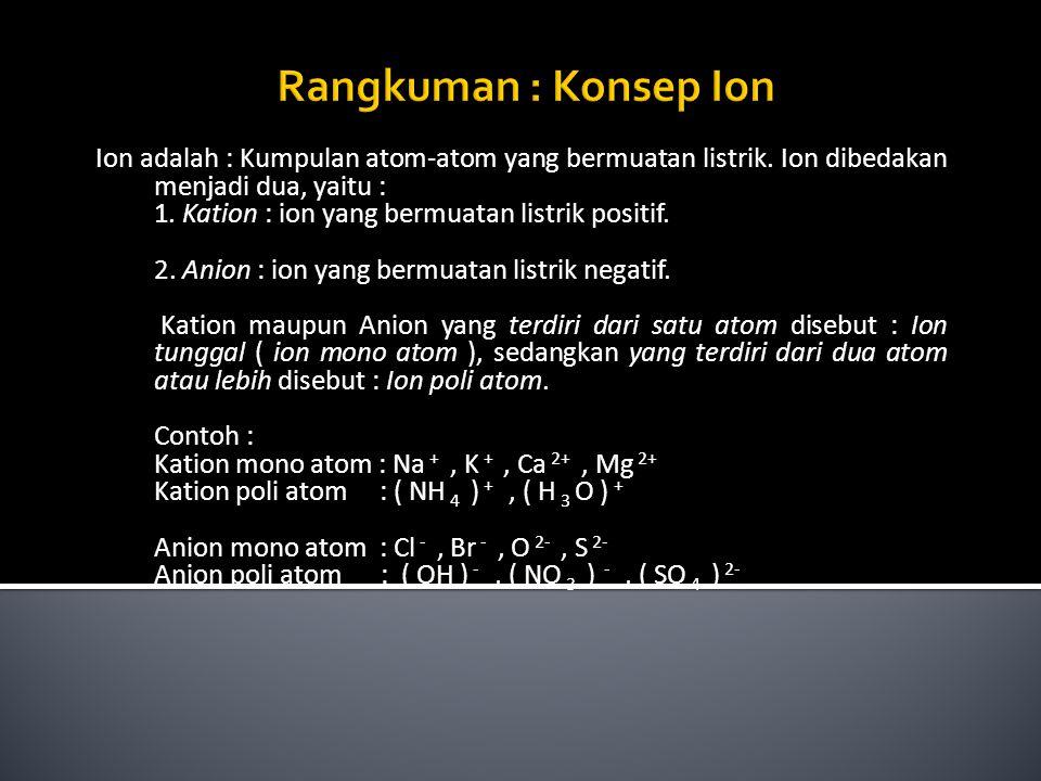 Ion adalah : Kumpulan atom-atom yang bermuatan listrik. Ion dibedakan menjadi dua, yaitu : 1. Kation : ion yang bermuatan listrik positif. 2. Anion :