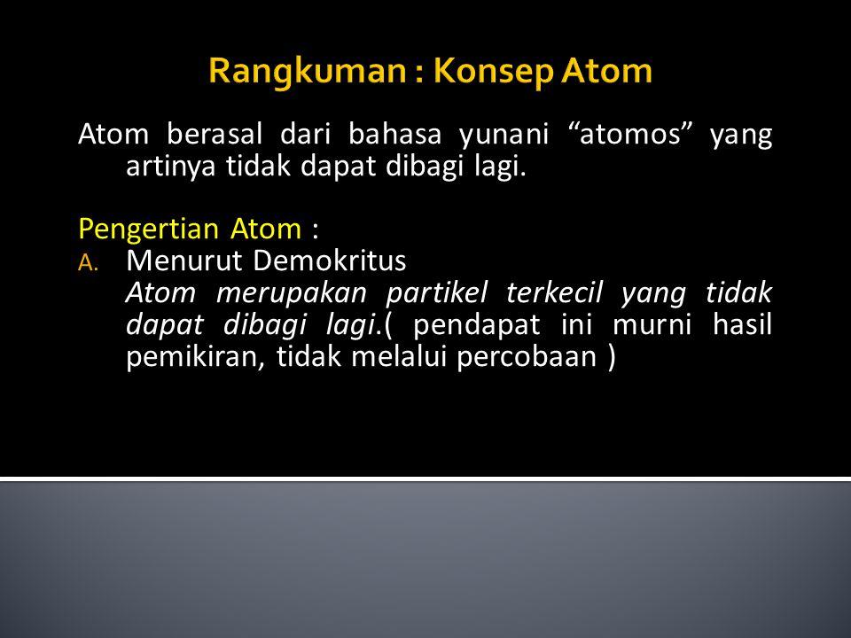 """Atom berasal dari bahasa yunani """"atomos"""" yang artinya tidak dapat dibagi lagi. Pengertian Atom : A. Menurut Demokritus Atom merupakan partikel terkeci"""