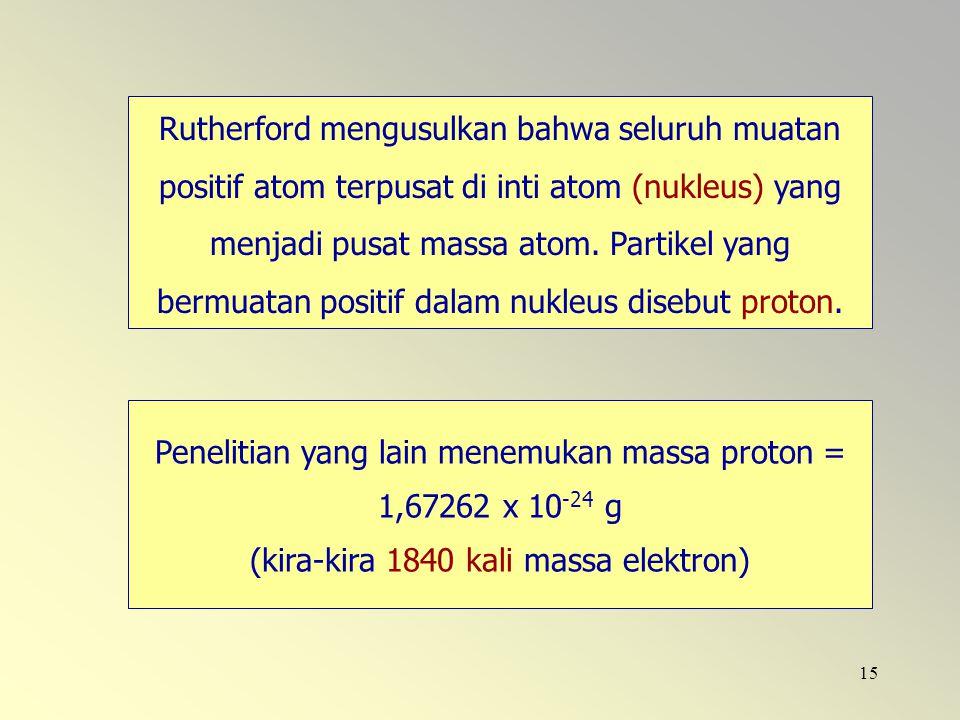 15 Rutherford mengusulkan bahwa seluruh muatan positif atom terpusat di inti atom (nukleus) yang menjadi pusat massa atom. Partikel yang bermuatan pos