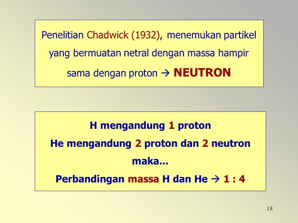 18 Penelitian Chadwick (1932), menemukan partikel yang bermuatan netral dengan massa hampir sama dengan proton  NEUTRON H mengandung 1 proton He meng
