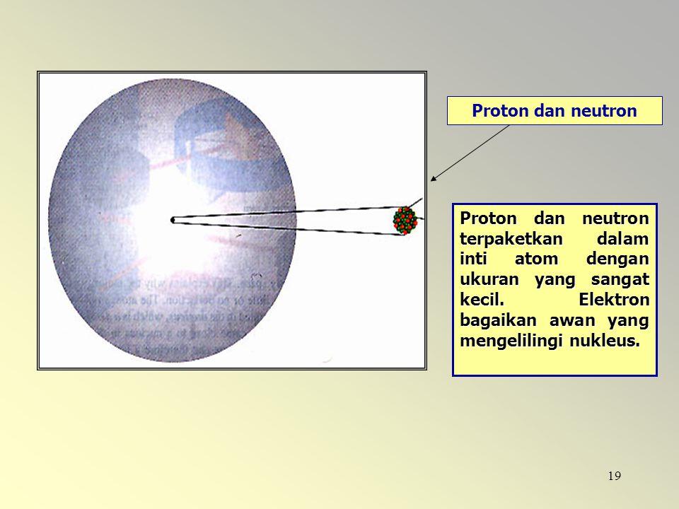 19 Proton dan neutron Proton dan neutron terpaketkan dalam inti atom dengan ukuran yang sangat kecil. Elektron bagaikan awan yang mengelilingi nukleus