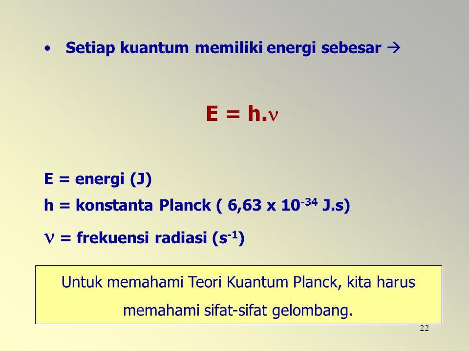 22 Setiap kuantum memiliki energi sebesar  E = h. E = energi (J) h = konstanta Planck ( 6,63 x 10 -34 J.s) = frekuensi radiasi (s -1 ) Untuk memahami