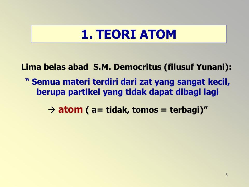 """3 1. TEORI ATOM Lima belas abad S.M. Democritus (filusuf Yunani): """" Semua materi terdiri dari zat yang sangat kecil, berupa partikel yang tidak dapat"""