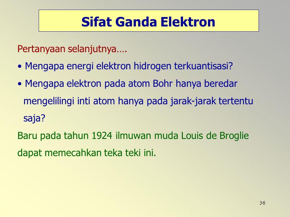 36 Sifat Ganda Elektron Pertanyaan selanjutnya…. Mengapa energi elektron hidrogen terkuantisasi? Mengapa elektron pada atom Bohr hanya beredar mengeli