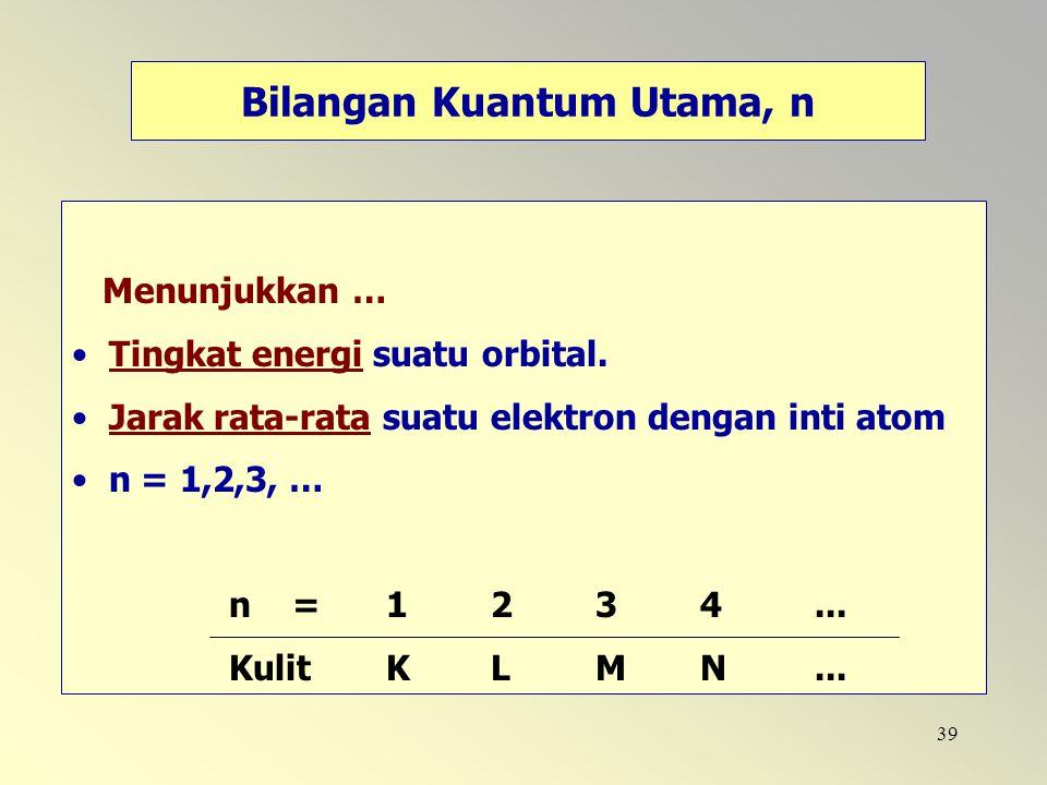 39 Menunjukkan … Tingkat energi suatu orbital. Jarak rata-rata suatu elektron dengan inti atom n = 1,2,3, … n =1 2 3 4... Kulit K L M N... Bilangan Ku