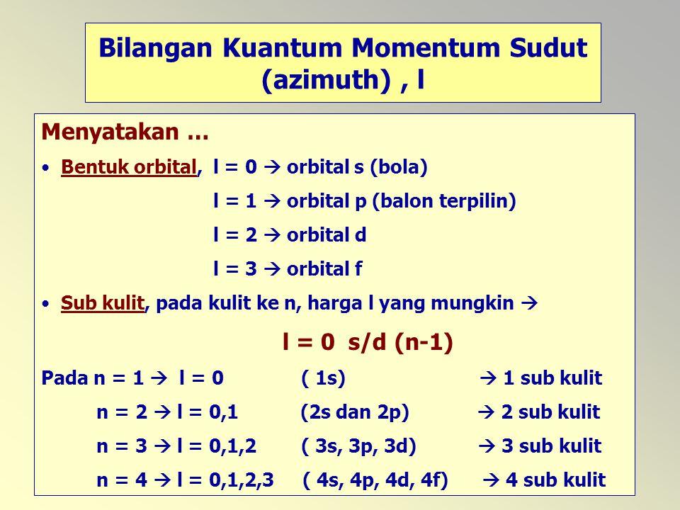40 Bilangan Kuantum Momentum Sudut (azimuth), l Menyatakan … Bentuk orbital, l = 0  orbital s (bola) l = 1  orbital p (balon terpilin) l = 2  orbit