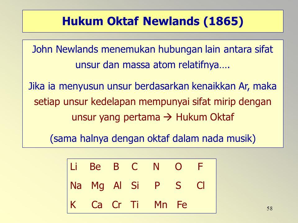 58 Hukum Oktaf Newlands (1865) John Newlands menemukan hubungan lain antara sifat unsur dan massa atom relatifnya…. Jika ia menyusun unsur berdasarkan