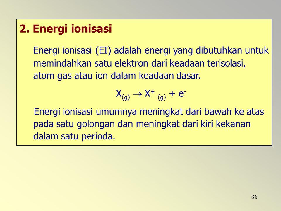 68 2. Energi ionisasi Energi ionisasi (EI) adalah energi yang dibutuhkan untuk memindahkan satu elektron dari keadaan terisolasi, atom gas atau ion da