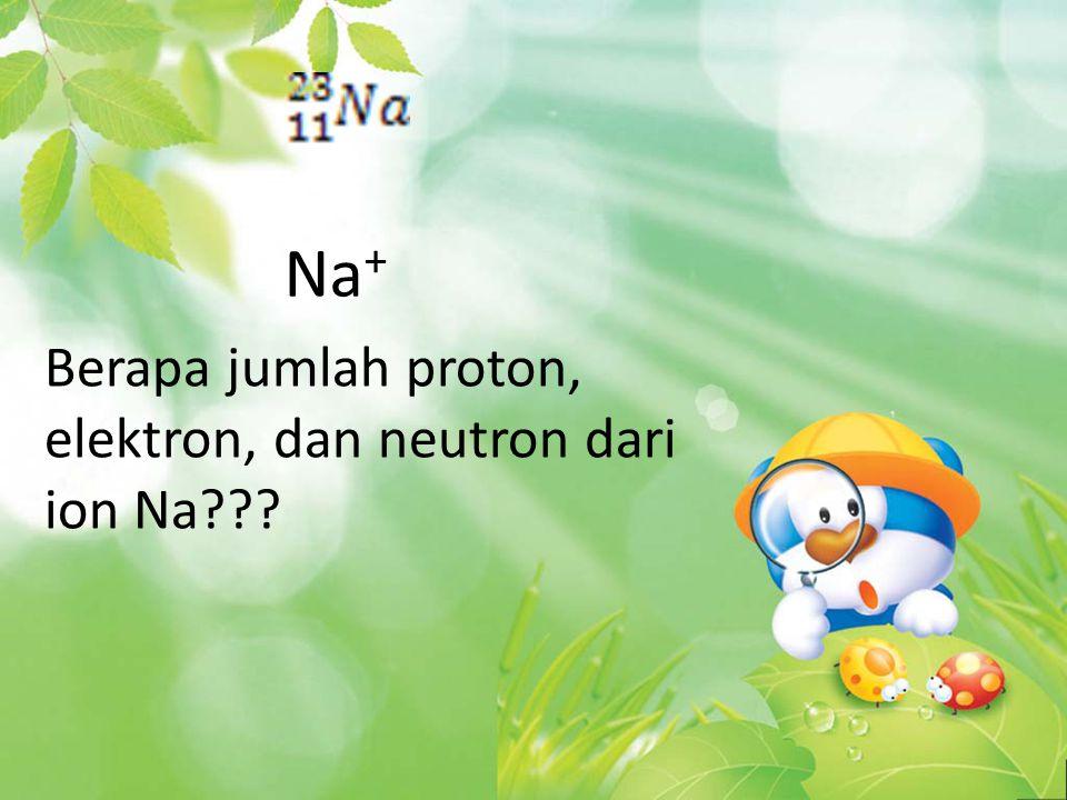 Na + Berapa jumlah proton, elektron, dan neutron dari ion Na???