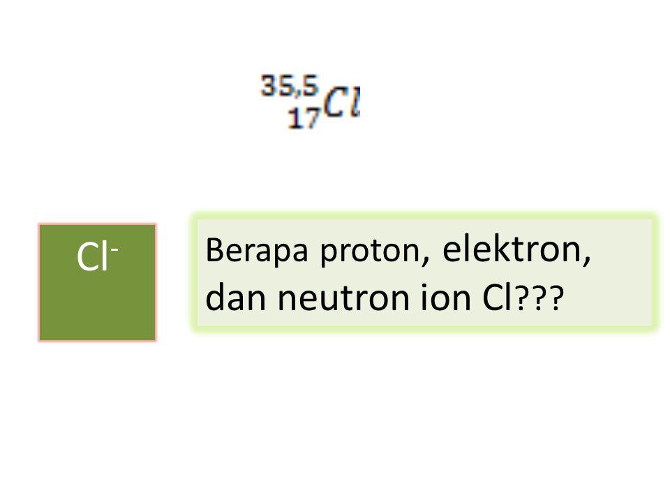 Cl - Berapa proton, elektron, dan neutron ion Cl ???