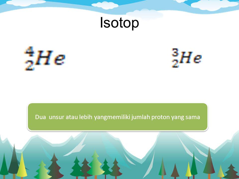 Isotop Dua unsur atau lebih yangmemiliki jumlah proton yang sama
