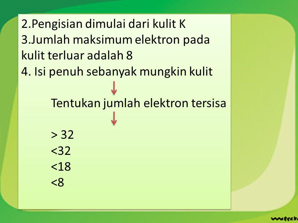 2.Pengisian dimulai dari kulit K 3.Jumlah maksimum elektron pada kulit terluar adalah 8 4. Isi penuh sebanyak mungkin kulit Tentukan jumlah elektron t