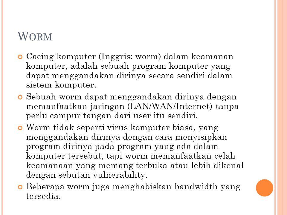 Worm merupakan evolusi dari virus komputer.