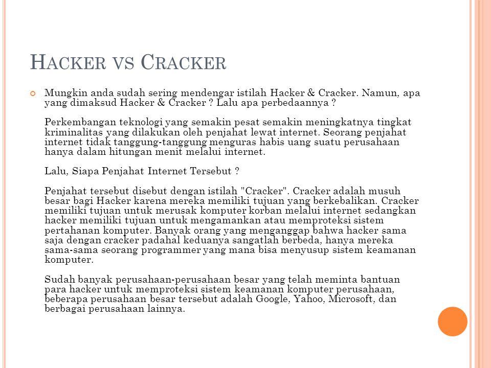 H ACKER VS C RACKER Mungkin anda sudah sering mendengar istilah Hacker & Cracker.