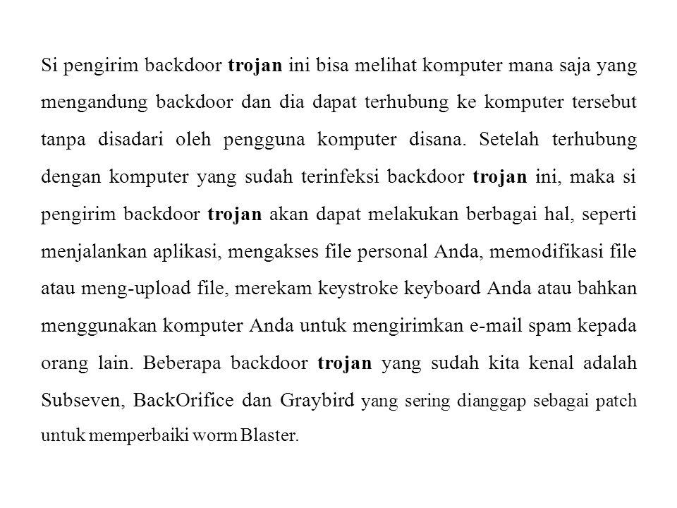 Si pengirim backdoor trojan ini bisa melihat komputer mana saja yang mengandung backdoor dan dia dapat terhubung ke komputer tersebut tanpa disadari o