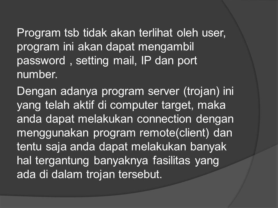 Program tsb tidak akan terlihat oleh user, program ini akan dapat mengambil password, setting mail, IP dan port number.