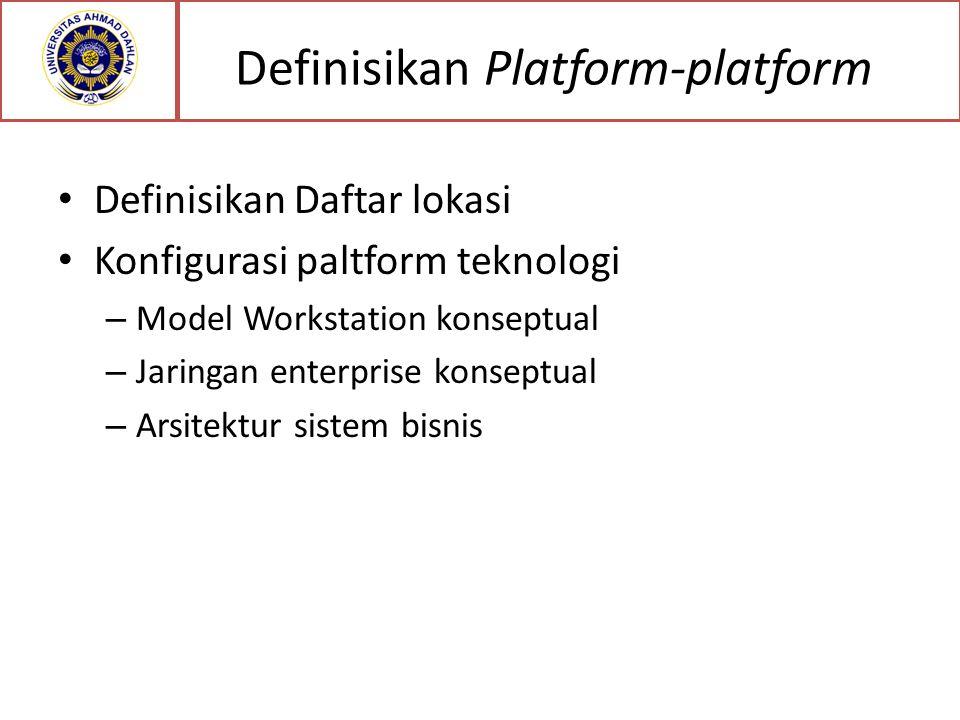 Definisikan Platform-platform Definisikan Daftar lokasi Konfigurasi paltform teknologi – Model Workstation konseptual – Jaringan enterprise konseptual – Arsitektur sistem bisnis
