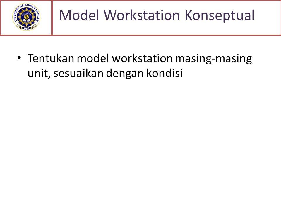 Tentukan model workstation masing-masing unit, sesuaikan dengan kondisi Model Workstation Konseptual