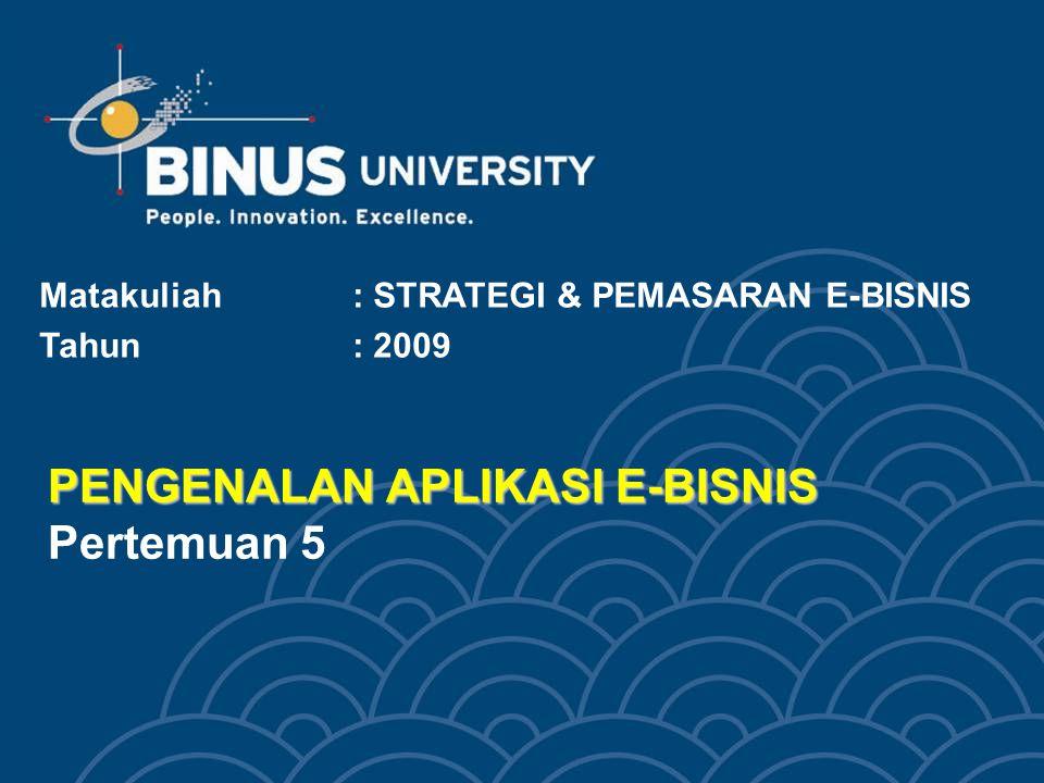 PENGENALAN APLIKASI E-BISNIS PENGENALAN APLIKASI E-BISNIS Pertemuan 5 Matakuliah: STRATEGI & PEMASARAN E-BISNIS Tahun: 2009