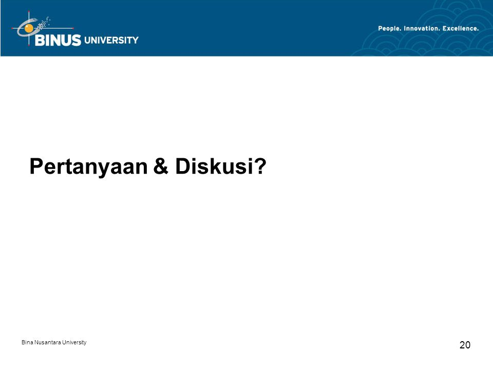 Bina Nusantara University 20 Pertanyaan & Diskusi