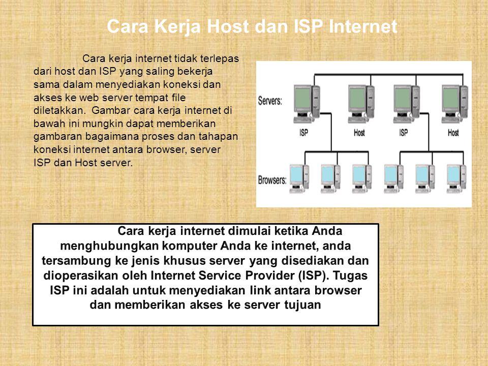 Cara Kerja Host dan ISP Internet Cara kerja internet tidak terlepas dari host dan ISP yang saling bekerja sama dalam menyediakan koneksi dan akses ke