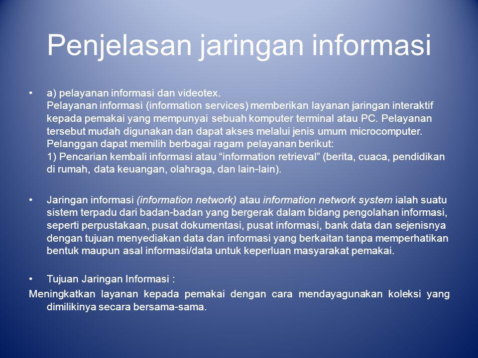 Penjelasan jaringan informasi a) pelayanan informasi dan videotex. Pelayanan informasi (information services) memberikan layanan jaringan interaktif k
