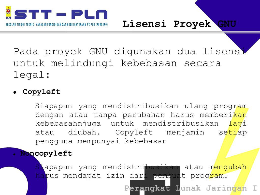Perangkat Lunak Jaringan I Lisensi Proyek GNU Pada proyek GNU digunakan dua lisensi untuk melindungi kebebasan secara legal: Copyleft Siapapun yang mendistribusikan ulang program dengan atau tanpa perubahan harus memberikan kebebasahnjuga untuk mendistribusikan lagi atau diubah.