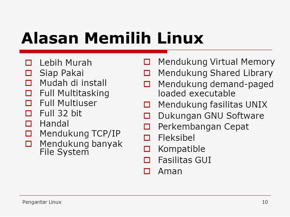 Pengantar Linux10 Alasan Memilih Linux  Lebih Murah  Siap Pakai  Mudah di install  Full Multitasking  Full Multiuser  Full 32 bit  Handal  Mendukung TCP/IP  Mendukung banyak File System  Mendukung Virtual Memory  Mendukung Shared Library  Mendukung demand-paged loaded executable  Mendukung fasilitas UNIX  Dukungan GNU Software  Perkembangan Cepat  Fleksibel  Kompatible  Fasilitas GUI  Aman