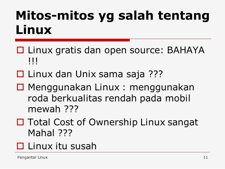 Pengantar Linux11 Mitos-mitos yg salah tentang Linux  Linux gratis dan open source: BAHAYA !!!  Linux dan Unix sama saja ???  Menggunakan Linux : m