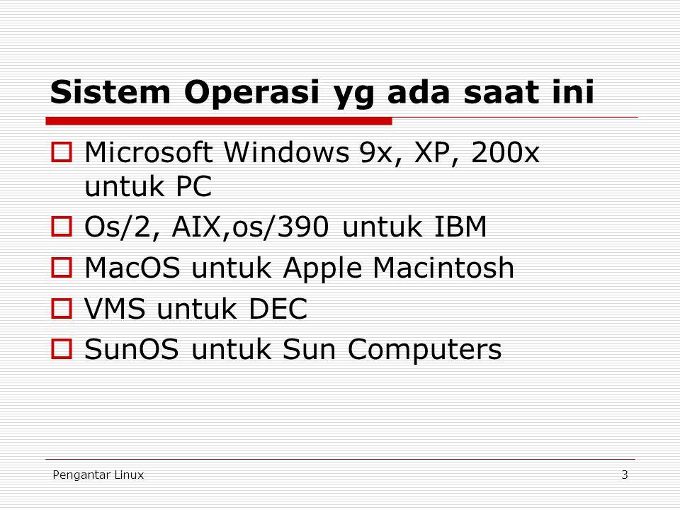Pengantar Linux3 Sistem Operasi yg ada saat ini  Microsoft Windows 9x, XP, 200x untuk PC  Os/2, AIX,os/390 untuk IBM  MacOS untuk Apple Macintosh  VMS untuk DEC  SunOS untuk Sun Computers