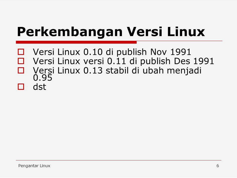 Pengantar Linux6  Versi Linux 0.10 di publish Nov 1991  Versi Linux versi 0.11 di publish Des 1991  Versi Linux 0.13 stabil di ubah menjadi 0.95 
