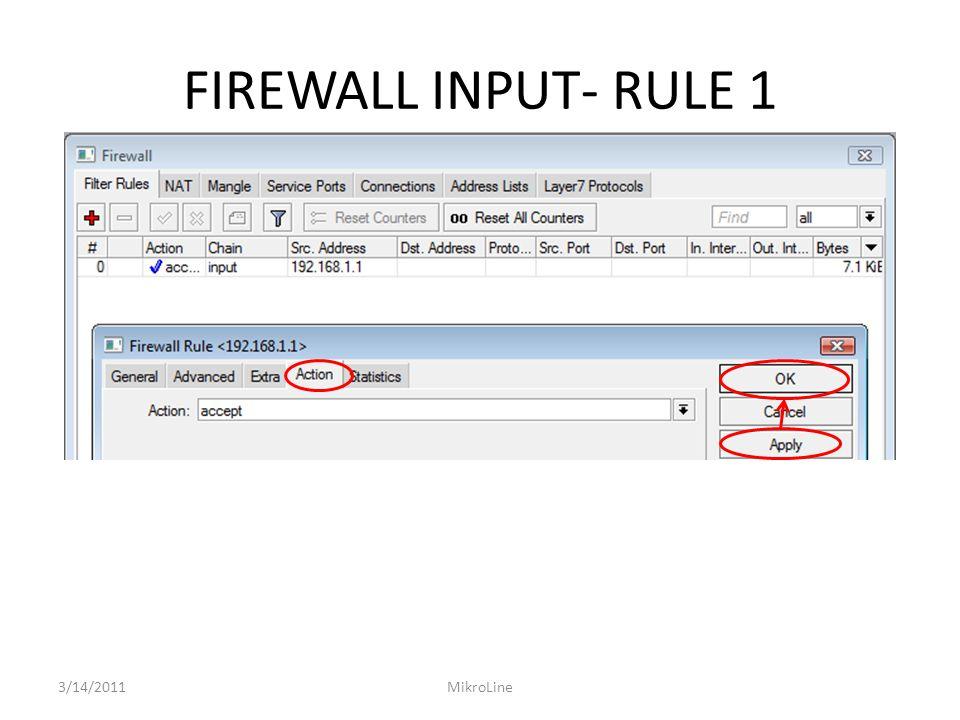FIREWALL INPUT- RULE 1 3/14/2011MikroLine