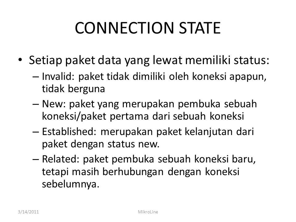 CONNECTION STATE Setiap paket data yang lewat memiliki status: – Invalid: paket tidak dimiliki oleh koneksi apapun, tidak berguna – New: paket yang merupakan pembuka sebuah koneksi/paket pertama dari sebuah koneksi – Established: merupakan paket kelanjutan dari paket dengan status new.